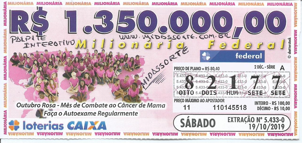 resultado da Loteria Federal 5433