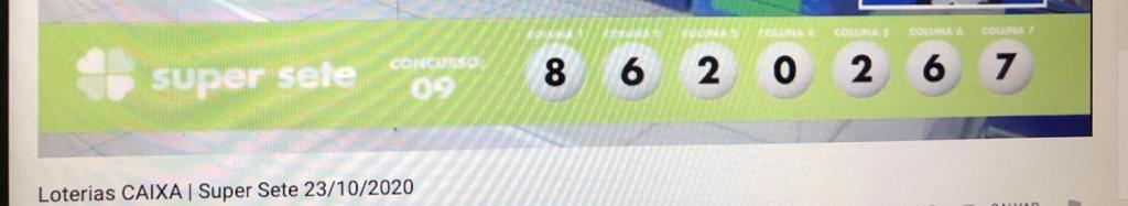 resultado da Super Sete 009