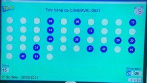 Resultado da Tele Sena de Carnaval 2021